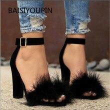 Plus Size Super High Sandals Female Pump New Fashion Buckle Strap Fur Flock Leat