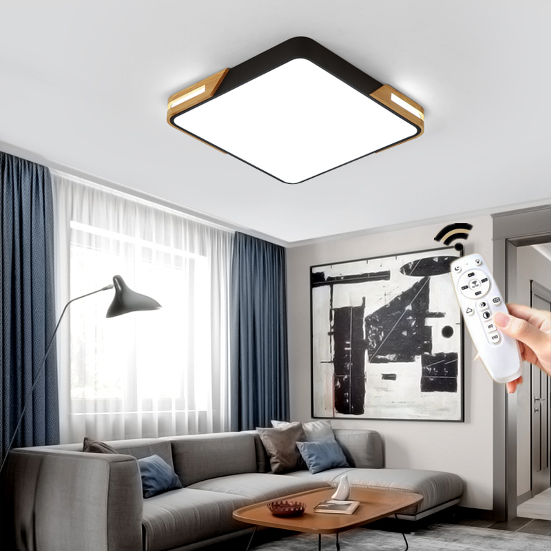 Nordic Modern Square Round Wooden Led Chandelier Ceiling Ligth Lamp with Remote Control for Living Room Loft Bedroom Black White in Ceiling Lights from Lights Lighting