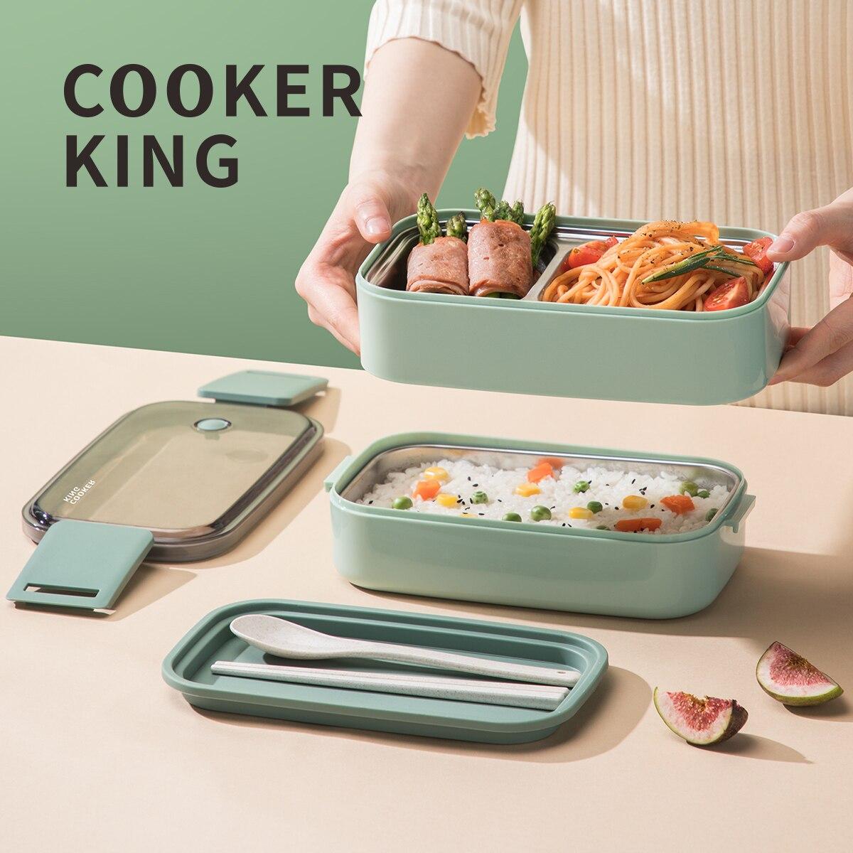 Плита KING 304 Нержавеющаясталь Bento Коробки для обедов, защита от утечек Стекируемый 2 слоя дизайн, микроволновая печь, морозильная камера посу...