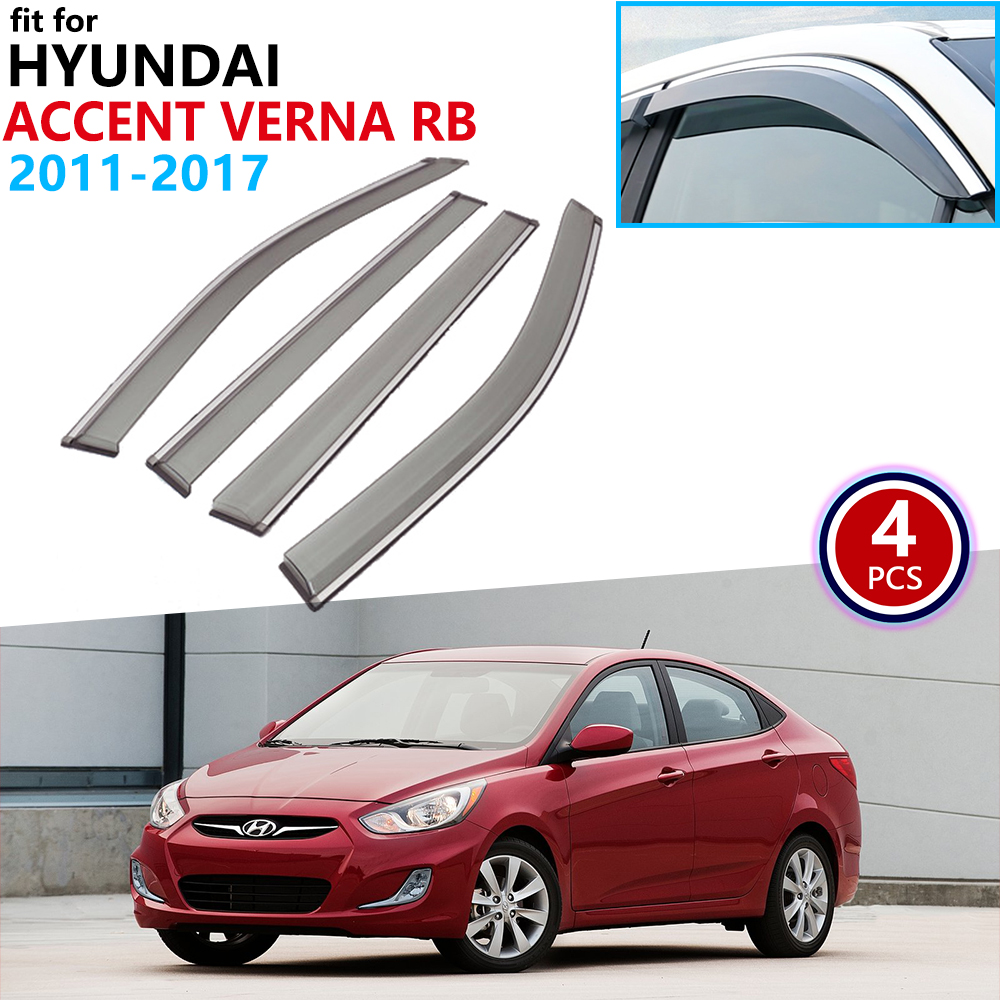 For Hyundai I25 Accent Verna RB 2011~2018 Window Visor Vent Awnings Rain Guard Deflector Cover Accessories 2012 2013 2014 2015