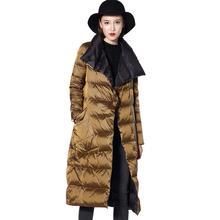 Women Down Jacket Double Sided Down Long Coat Winter Turtleneck White Duck Down Jacket Double Breasted Warm Parkas  Outwear все цены