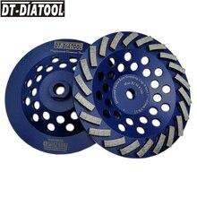 DT-DIATOOL 2 stücke 5/8-11 Gewinde Durchmesser 180mm/7 zoll Segmentiert Diamant Turbo Reihe Tasse Schleifen Rad für Beton Granit Marmor