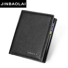 JINBAOLAI Simple Men Wallets Leather Genuine Card Holder Wallet Solid Short Male Purse Business Brand Wallets for men carteira