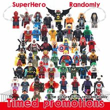 50 Pcs No Ripetuto a Caso Legoed Marvel Avengers Thor Batman Flash Deadpooled Minifigured Mini Blocchi di Costruzione Giocattoli Figure(China)