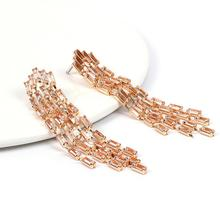 Fashionable Shiny Tassel Earrings Gold Silver Color Morden Ins Style All-match Women Hot Girl Jewelry