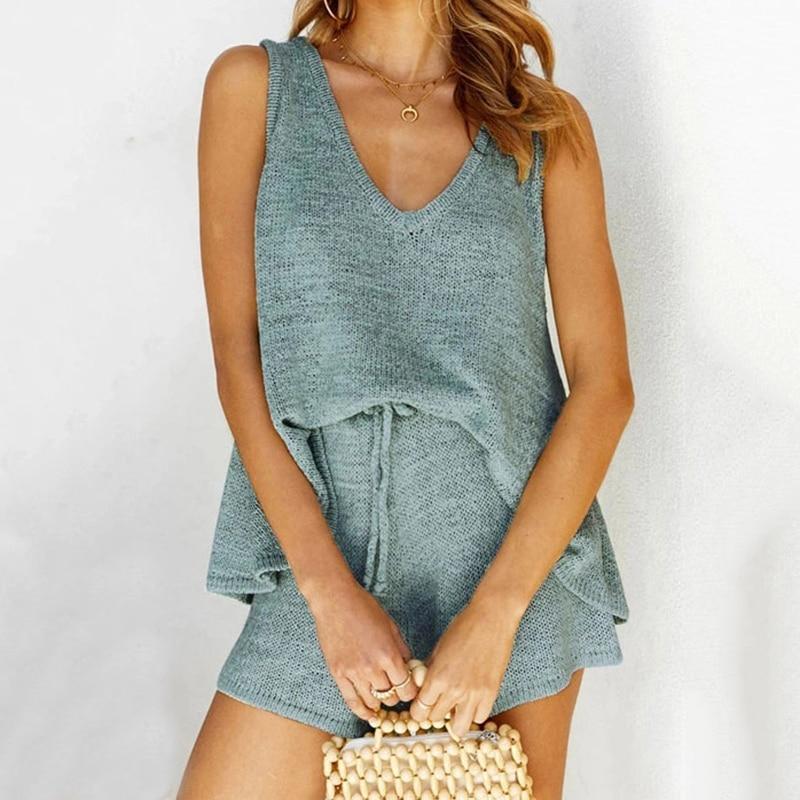 JULY'S SMTWB 2 PCS Summer Knit Women Vest Set V-neck Solid Color Loose Sleeveless Top Knitted Vest Bottoming Short Lace Up Pants