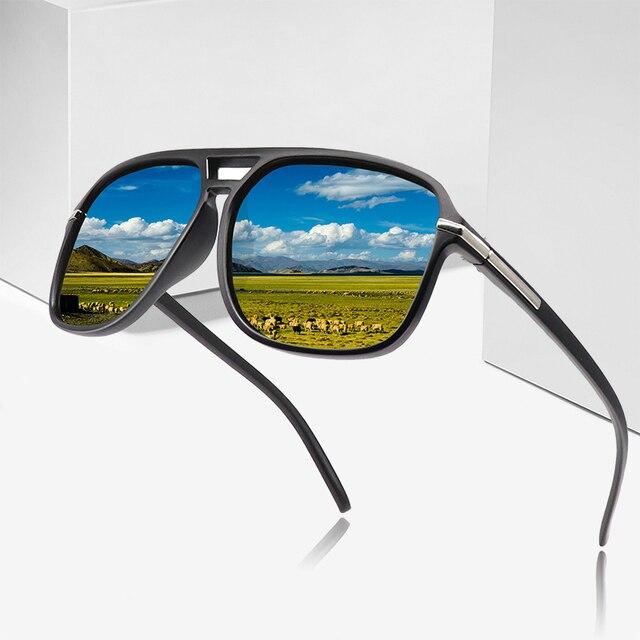 Gafas de Sol polarizadas y cuadradas para hombre, lentes de sol masculinas a la moda, estilo cuadrado con gradiente, adecuadas para conducir, diseño vintage de marca, 2020 1