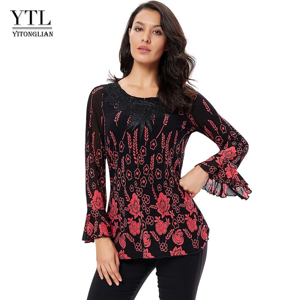 YTL Womens Tops And Blouses Applique Crochet Autumn Long Sleeve Ladies Vintage Floral Print Tunic Tops Shirt 6xl 7xl 8xl H028