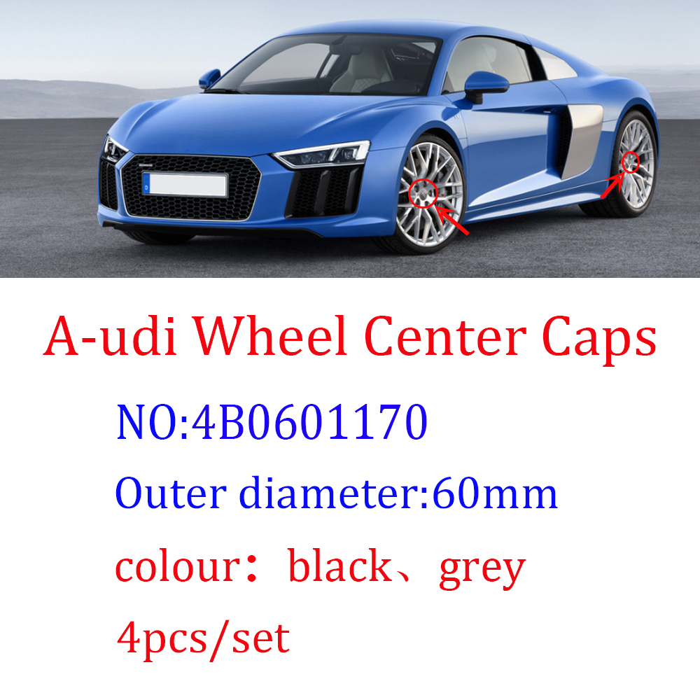 4 шт. 60 мм серый, черный цвет автомобиль колесная Центральная шапки ступицы колеса обода значок для крышки для Audi A3 A4 A5 A7 A8 Q3 Q5 Q7 TT S3 S4 8P 4B0601170