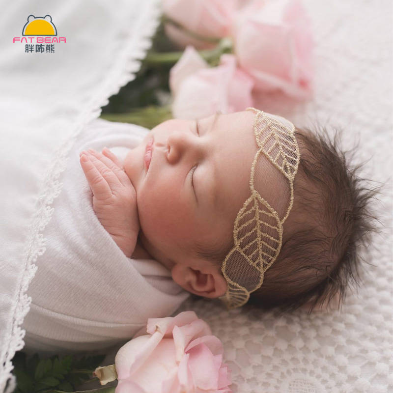 Hair-Bands Photo-Prop Elastic Girls Baby Handmade Lace Leaf for Newborn Embroidery Soft
