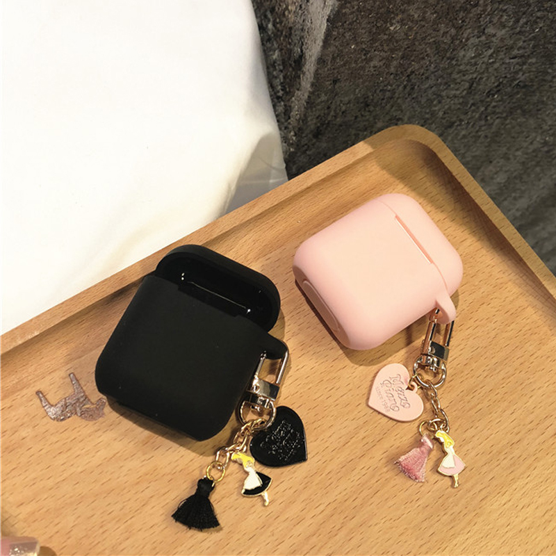 Cute Silicone High Quality Case For Apple Airpods 1 2 Accessories Bluetooth Earphone Case Cover Girl Heart Tassel Decor Key Ring
