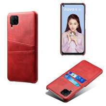 2 Slot etui na karty do Huawei P20 P20 Pro P30 P30 Pro P30 lite P40 P40 Pro P40 lite E skórzane etui Huavei P40 Pro Coque zderzak tanie tanio Pół-owinięte Przypadku 2 Card-Slot Phone Case Odporna na brud Anti-knock Z Kieszeni Karty