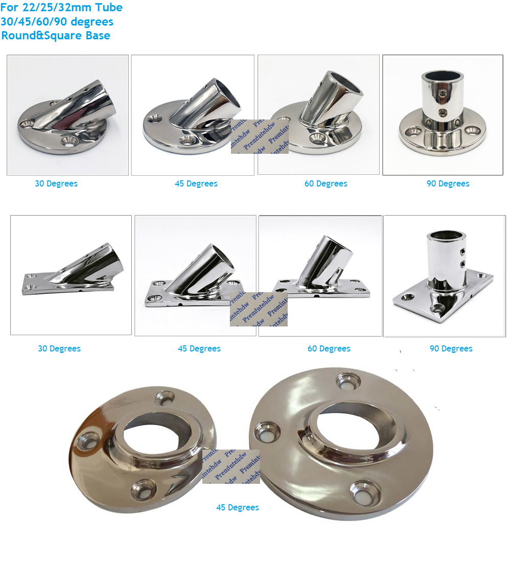 Boat Marine Yacht Stainless Hand Rail Round Base 60°Fittings for 22mm Tube Pipe
