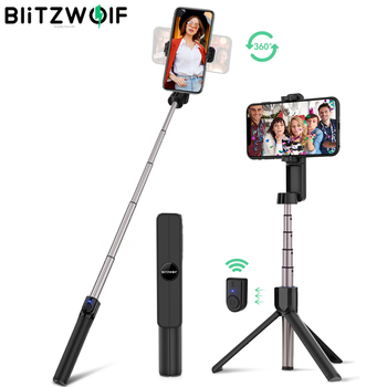 BlitzWolf BW-BS2 Protable Mini bluetooth Selfie Stick Remote Control Tripod Monopod Rotatable Clamp for iPhone 11 Huawei Xiaomi