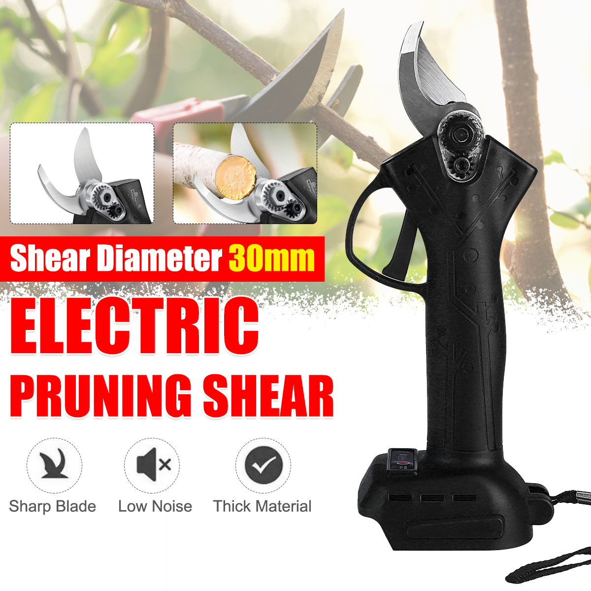 Professional Cordless Electric Pruner Pruning Shear Efficient Cutter  Fruit Tree Branch Pruner Shears for Makita Battery 30mm