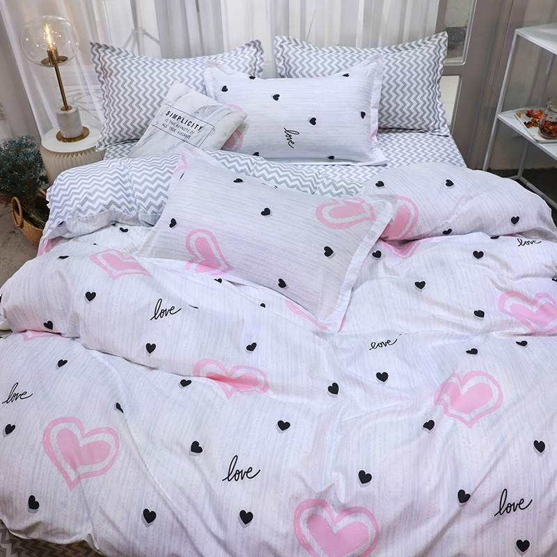 Pillowcases Duvet-Cover Bed-Sheets Heart-Shape King-Queen Black Single-Size Pink And