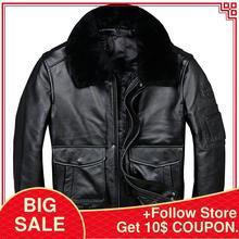 2020 Black Men USAF Pilot Leather Jacket Wool Collar Plus Size 3XL Genuine Cowhi