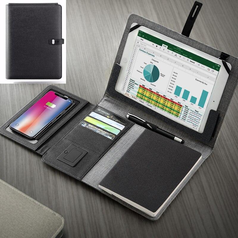 Bureau d'affaires B5 dossier gestionnaire de dossier sac en cuir PU A4 porte-documents avec bande élastique téléphone portable ipad support rack puissance