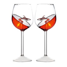 Creative Red Wine Glass Champagne Flutes Glasses Drinking Glass Tea Cups  Creative Shark Glass Juice Mug Milk Coffee Cup Christm