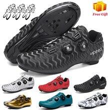Profissional atlético sapatos de bicicleta mtb sapatos de ciclismo respirável homem auto-bloqueio sapatos de bicicleta de estrada mulher tênis de ciclismo