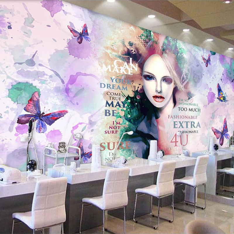 Custom Self-Adhesive Wallpaper 3D Fashion Watercolor Beauty Shop Cosmetics Background Wall Decor PVC Waterproof 3D Wall Stickers