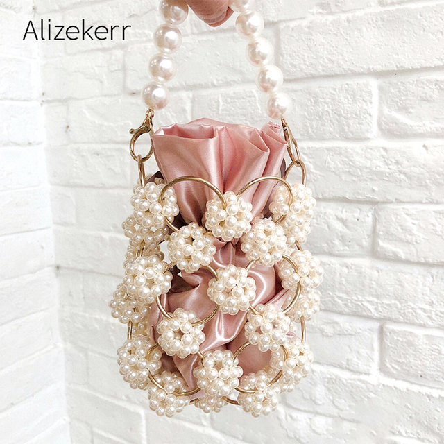 Hollow Out Pearl Handbgs Women New Luxury Small Beaded Pearl Clutch Purses And Handbags Ladies Woven Shoulder Bag Wedding Party