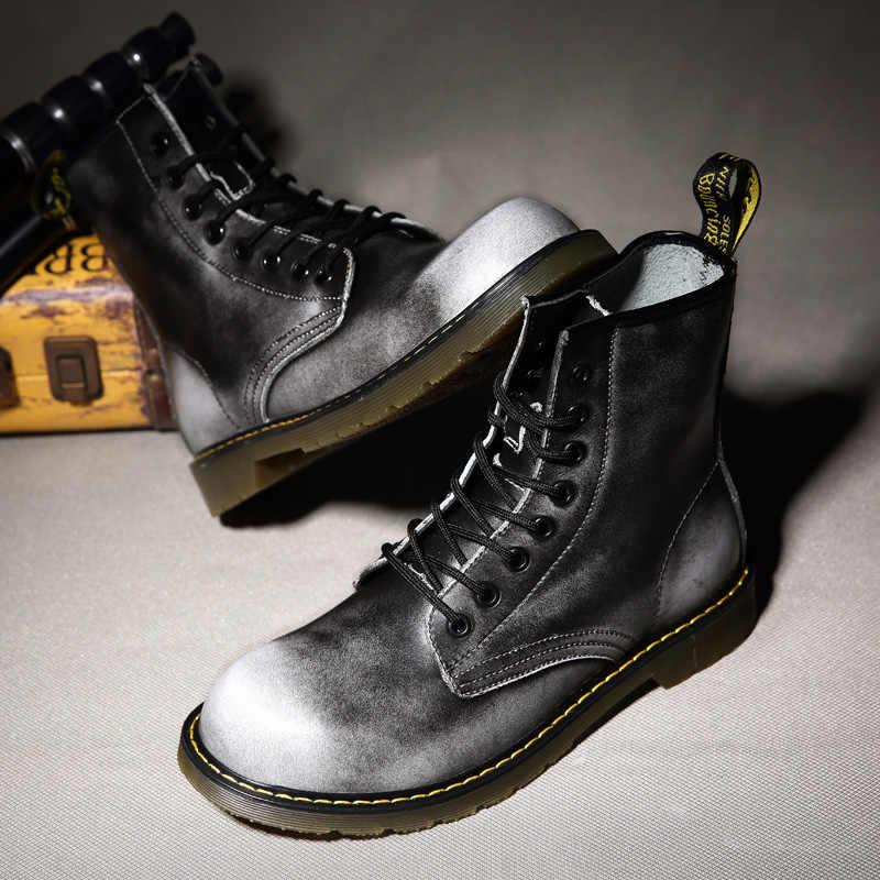 Schoen Veters Martin Laarzen split Leather inlegzolen High Top Motorlaarzen Winter/Herfst Doc Martin Vrouwen Schoenen