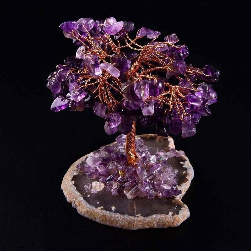 Cristal natural árvore sorte ametista rosa quartzo árvore da vida rocha mineral espécime reiki cura casa decoração presentes lembrança