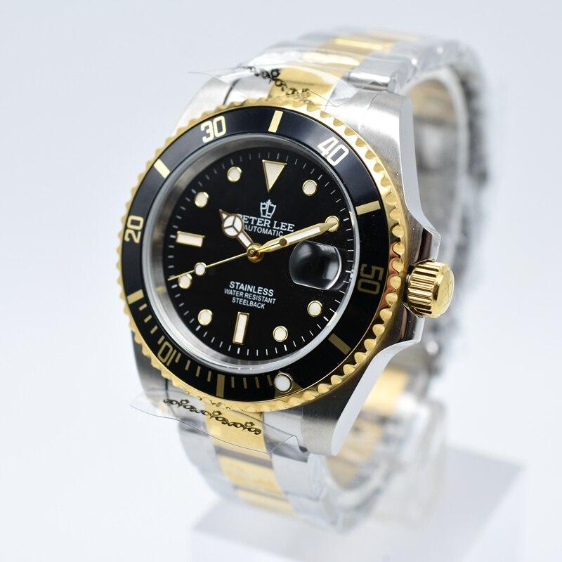 Ha3d5f28b291f45c5bd74372bbcb5060e6 Ceramic bezel luminous mechanical automatic men watches top brand luxury PETER LEE daydate stainless steel men hand wind watch