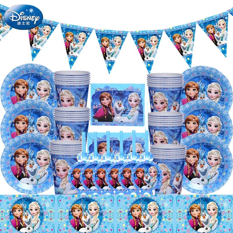 69 sztuk/partia mrożone księżniczka królowa śniegu temat z okazji urodzin strona wystrój dzieci dziewczyna strona dostaw dekoracji zastawa stołowa