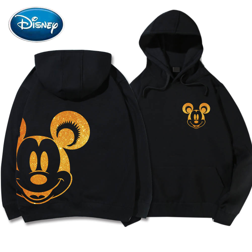 Disney Sweatshirt Mickey Mouse Cartoon Print Gold Chemical Foiled Fabric Hoodie Unisex Women Long Sleeve Pocket Tops 5 Colors