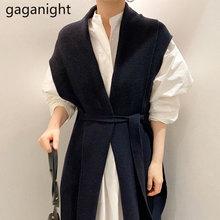 Gaganight Elegante Vrouwen Twee Stukken Set Wit Maxi Jurk Gebreide Mouwloze Lange Vest Causale Losse Chic Koreaanse 2 Stuks Set pak