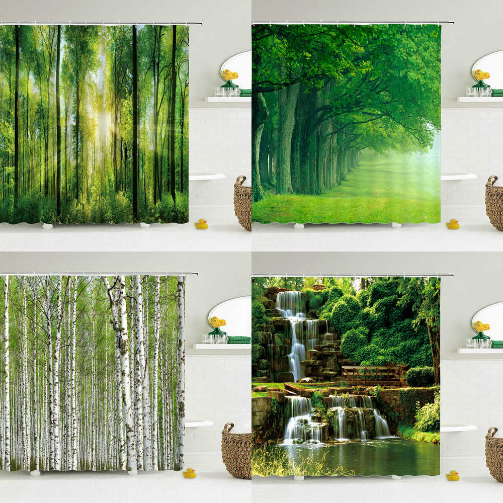 modern 3d printing forest shower curtain green plant tree landscape bath curtain with hooks for bathroom waterproof scenery