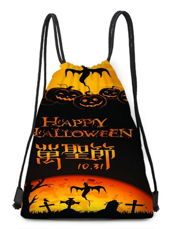 Saint-sweeping Pumpkin Yellow Black Ghost Horror Print Bundle Pocket