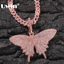UWIN Hiphop Rose Gouden Vlinder Hanger Kettingen Roze Cubaanse Link Chain Voor Vrouwen Iced Out AAA Cubic Zircon Mode sieraden