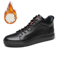 Men Genuine Leather High Top Sneakers Autumn Winter Men's Shoes Tenis Sneaker Black Zapatilla Hombre Hip Hop Plus Size 47 48