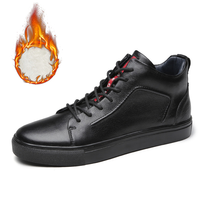 Homens de couro genuíno alta superior tênis outono inverno sapatos masculinos tenis tênis preto zapatilla hombre hip hop plus size 47 48