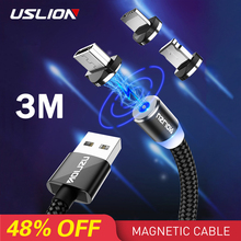 USLION 2M Fast Charging Magnetic Cable Micro USB Type C Charger For iPhone XS X 8 7 Samsung S10 9 Magnet Android Phone 3M