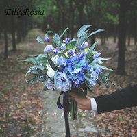 EillyRosia INS Style Blue Purple Bride Bouquet Rustic Country Wedding Flowers Simulation Bouquet for Photography and Decoration