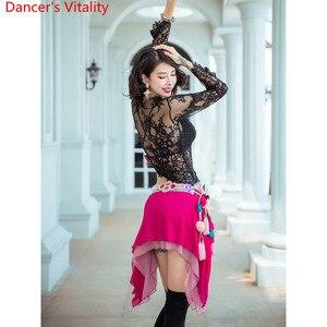 Image 2 - Ropa de entrenamiento para práctica de danza del vientre, ropa de otoño sexi para principiantes, falda de encaje con 3 capas, trajes de competición de danza India Oriental