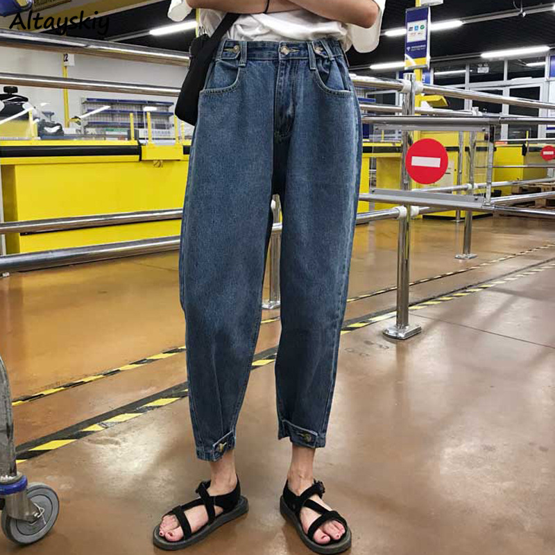 Jeans Women Solid Vintage Harajuku Loose Straight Pocket Womens Ankle-length Trousers All-match New Casual BF Student Streetwear