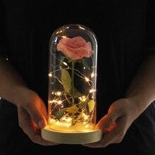 Прямая поставка; красная роза в стеклянном куполе; Светодиодный светильник; деревянная основа для Дня Святого Валентина; подарки; Рождественский подарок