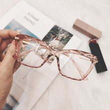 2019 Korean Pink Clear Glasses Frame Women Fashion Transparent Fake Myopia Glasses Frame Female Computer Eyewear Spectacle Frame(China)