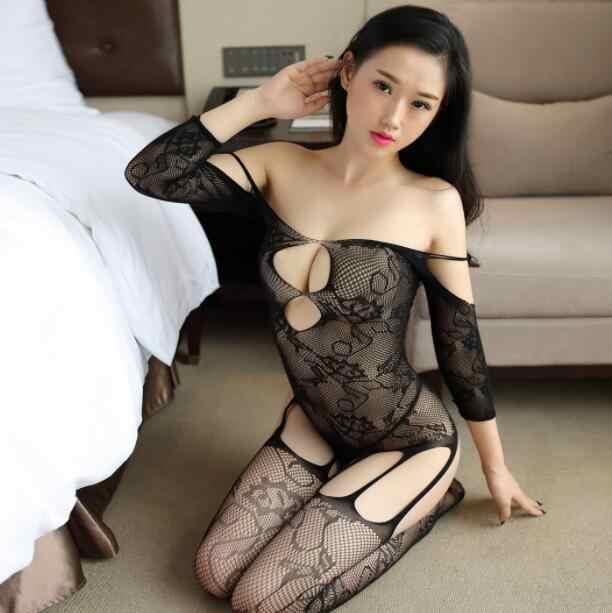 Shengrenmei Super เซ็กซี่ชุดชั้นใน Jumpsuit ผู้หญิงชุดนอนเซ็กซี่ชุดชั้นในเย็บปักถักร้อยชุดนอน Catsuit Body ชุด Fishnet เครื่องแต่งกาย