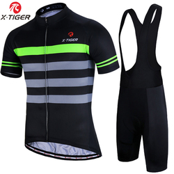X-Tiger Breathable Cycling Jerset Set Men Summer Anti-Pilling Cycling Clothing Set With Coolmax 5D Gel Padded Cycling Shorts