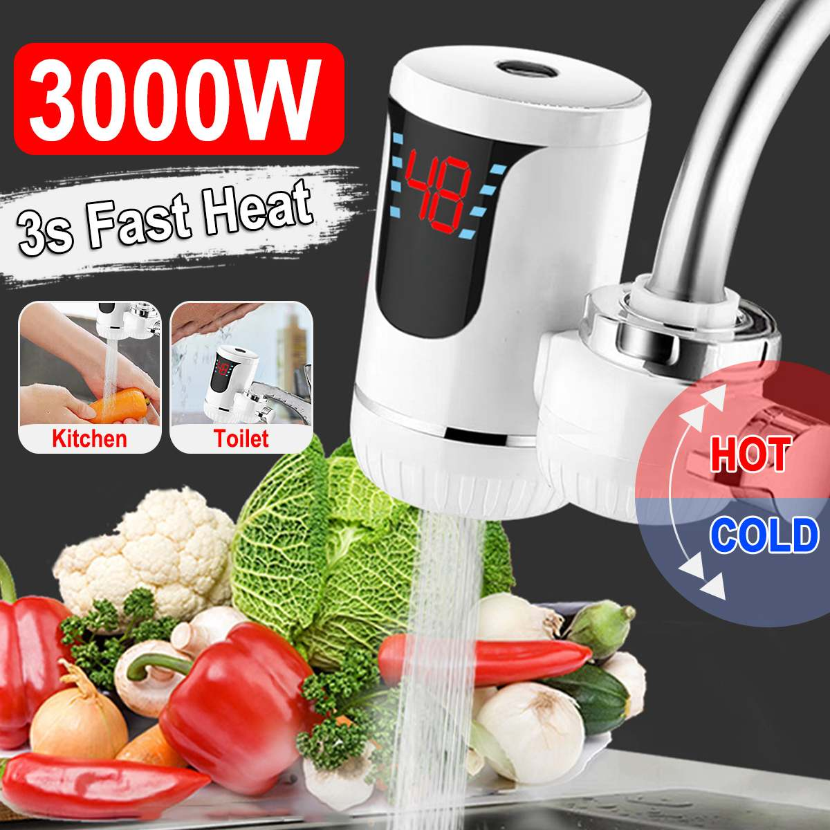 220V Electric Hot Faucet Water Heaters Kitchen Cold Heating Faucet Tankless Digital Display Instantaneous Water Heaters Tap