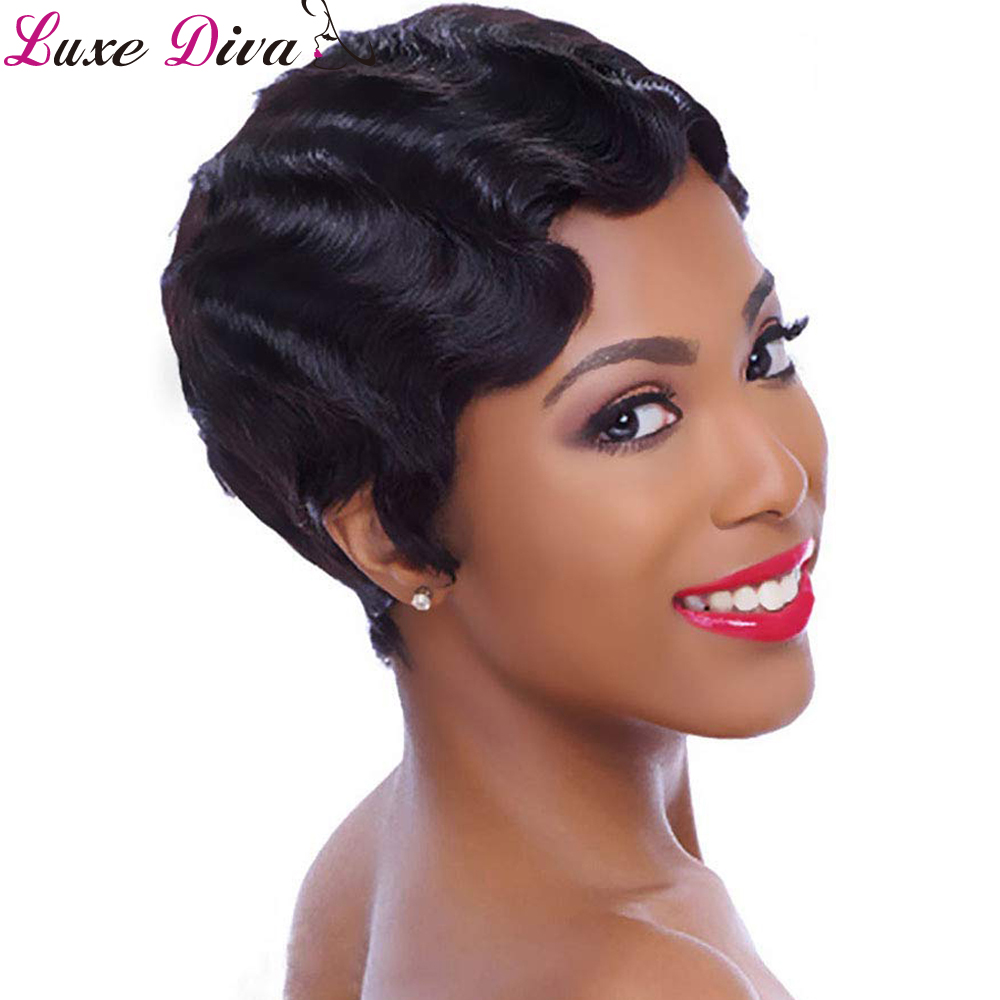 Luxediva Hair Short Lace Human Hair Wigs For Women Peruvian Wavy Pixie Cut Remy Human Hair Finger Wave Lace Wigs For Black Women