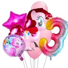 Meu pequeno pônei folha balões com 32 polegada arco-íris número baloon menina festa de aniversário decoração um ano de idade