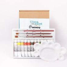 Set di vernici per vetri acrilici Memory 12 colori kit di pigmenti per pittura artistica per vetro-Include 3 pennelli e 1 tavolozza