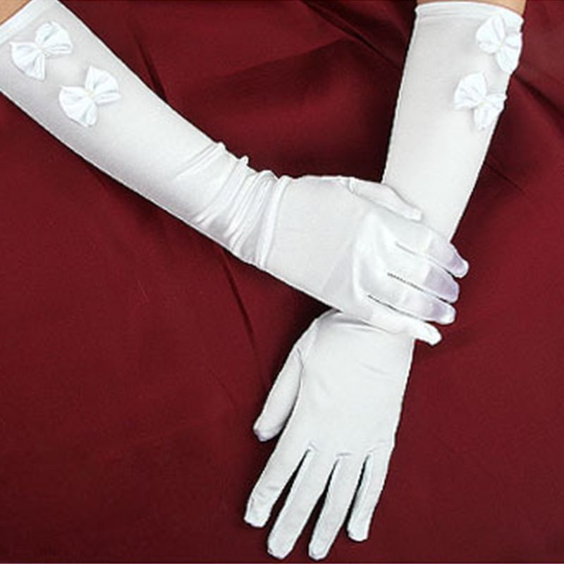 1 Pair Women Bridal White Wedding Long Gloves Double Bowknot Faux Pearl Decor Elbow Length Full Fingered Mittens Warmer Formal